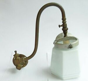 """Antique """"Tottenham"""" GAS SCONCE BRASS WALL LIGHT swan neck with glass shade"""