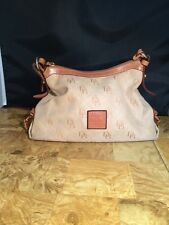 Dooney And Bourke Tan Canvas Satchel Bag Purse Tote Clutch