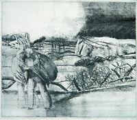 DDR-Kunst/Leipziger Schule 1978 Radierung Ulrich HACHULLA (*1943 D) handsigniert