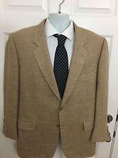 Corneliani Tan Mini Check Blazer Jacket Silk Wool Flax Blend Sportcoat Size 42R