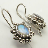 """Facetted RAINBOW MOONSTONE 925 Solid Silver Fashion Ethnic Style Earrings 7/8"""""""