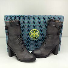 Tory Burch BROOME 100mm Bootie Boots Black 11 M Lace Up Fur Moto Equestrian