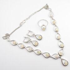 Genuine OPAL Necklace Earrings Ring SZ 7.75 Set 925 Sterling Silver Jewelry New