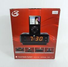 GPX Alarm Clock Radio With Dock For iPod Black AM/FM Stereo NIB