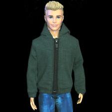 "Handmade doll clothes dark green hoodie coat jacket for 12""  ken dolls"