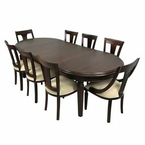 Solid Mahogany Wood Oval Extension Dining Set 2.5m Table 8 Chairs Antique Style