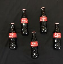 KISS Coca-Cola 5 Individual Personalized Glass Bottles Gene Paul Ace Peter Kiss