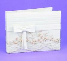 Vintage Charm Lace Crystal Beading Wedding Guest Book
