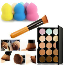 15 Colors Face Concealer Camouflage Cream Contour Palette Spong Puff Brush Kit