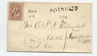 1860s Oakland to Stockton CA #65 cover advertised auxiliary [5836.8]