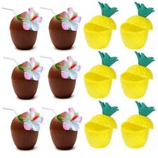 12 x Mixed 6 x Coconut & 6 x Pineapple Hawaiian Luau Hula Plastic Party Cups