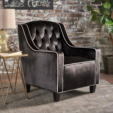 Milan Two Tone TUFTED Black New Velvet Club Chair ArmChair