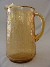 """Vintage Amber Glass Water/Tea/Lemonade Pitcher With Crackled Look, 9 1/2"""" tall"""