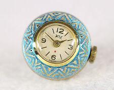Estate Vintage Swiss Watch Art Deco Ball Pendant Guilloche Blue Enamel Working