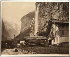 Sommer. Suisse, Lauterbrunnen  vintage albumen print.  Tirage albuminé  20x2