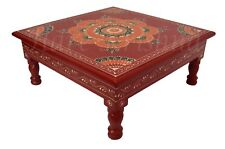 Indian Flower Painted Coffee Table Pooja Chowki Bajot Asian Furniture (Red) 13""