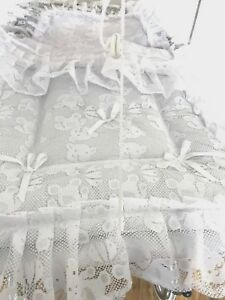 Baby's Pram Quilt Set  to fit Silver Cross prams in white Teddy Lace Design