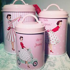 Mrs Smith Pink Vintage Lady 1950's Kitchen Tin Canisters - Set of 3 LP27221