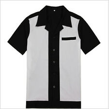 Mens Bowling Shirt Vintage Retro Design 50s 60s Style Cotton Top Party Clubwear