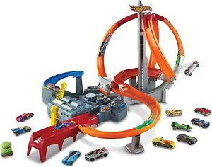 Hot Wheels Spin Storm Track Set Orange Track High Speed Multi-Lane Loops