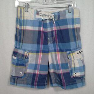 Abercrombie Kids boys swim trunks Size L 30x8 Blue Plaid