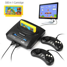 TV Video Console 2 Player Controllers Gamepads + 500 Games Cartridge Kid Gift