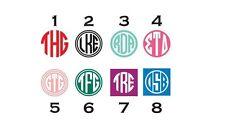 "2"" Personalized Monogram Decal Circle Square Sticker"