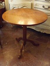 Tavolino antico rotondo da salotto in legno di ciliegio gamba centrale