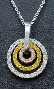 Platinum 750 Yellow & Rose Gold with 3/4cttw Natural Pink Yellow White Diamonds