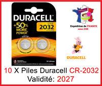 10 Piles CR-2032 DURACELL bouton Lithium 3V DLC 2027