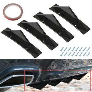 Universal Gloss Black 4 Shark Fins Car Rear Bumper Spoiler Wing Lip Diffuser Kit