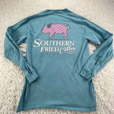 Southern Fried Cotton Shirt Adult Medium Blue Long Sleeve Comfort Colors Pig G1