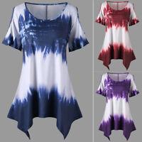 Fashion Womens Plus Size Short Sleeve Blouse Cold Shoulder T-shirt Tunic Tops