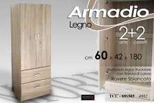 ARMADIO MODERNO 2 ANTE 2 CASSETTI H180*60*42 ROVERE SBIANCATO LEGNO TRUC 681585