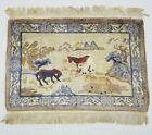 Antique Handmade Chinese Horses Tibetan Peking Art Deco Wool Rug Carpet 93x61cm