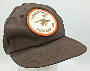 Vtg Yorktown Lumber Company Round Patch Front Made in USA Brown Snapback Hat