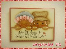 HP Hand Painted Wooden Kitchen Sign Gingerbread , plaque