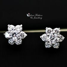 18K White Gold GF Simulated Diamond 1.0cm Extra Sparkling Flower Stud Earrings