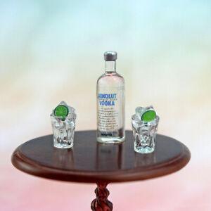 Bottle of Vodka & Two Wine Glasses Miniature Drinks Dolls House 1:12 Scale