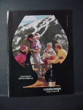 1991 Courvoisier Cognac Apres Ski Skiiers Mountain Lodge Vintage Print Ad 11323