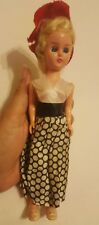 Vintage Plastic female Doll • Eyes Open Close • blue eyes • clothing looks old