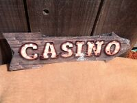 """Casino This Way To Arrow Sign Directional Novelty Metal 17"""" x 5"""""""