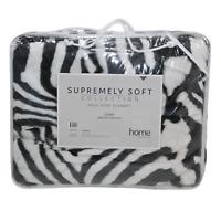1pce Zebra Queen Blanket 200x240cm Animal Print w/Carry Bag Faux Mink Soft
