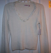 JLO J-LO J LO CREAM COZY CROPPED SWEATER TOP SZ L NWT