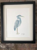 Blue Crane, Heron Original Watercolour Painting, Signed Art Not A Print, Vintage