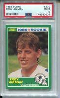 1989 Score Football 270 Troy Aikman Rookie Card RC Graded PSA Mint 9 Cowboys