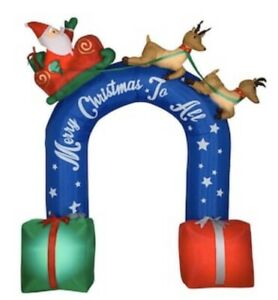 New 9 Ft Inflatable Sleigh Ride Archway Merry Christmas To All Santa Reindeer