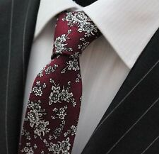 Tie Neck tie Slim Dark Wine Red with White Floral Quality Cotton T6147