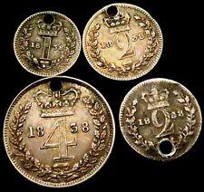 V672: 1838 Victorian Silver Maundy Part Set - 4d, 2d, 2d, 1d - all pierced