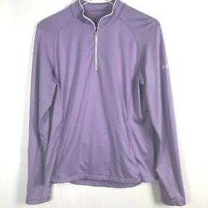 Under Armour Heat Gear 1/2 Zip Shirt Medium Purple Long Sleeve Pullover Womens